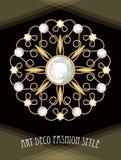 Broche filigrana do art deco caro na composição com diamantes, joia antiga do círculo do ouro, forma no estilo do victorian, ilustração do vetor