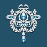 broche met parels en edelstenen Filigraanv Royalty-vrije Stock Afbeelding