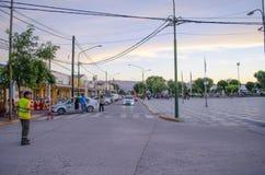 Brochero fyrkant, Argentina på solnedgången Fotografering för Bildbyråer