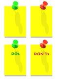 Broches rouges vertes de DOS et de DON'Ts illustration libre de droits