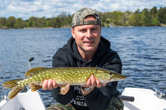 Brochet de pêche d'homme Photo stock
