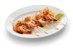Brochetas de gambas, spanish grilled shrimp skewers royalty free stock images