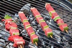Brochette говядины на барбекю стоковое фото