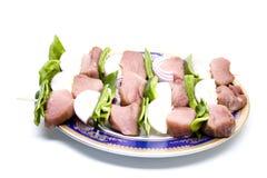 Brochette avec de la viande et le paprika Photos stock
