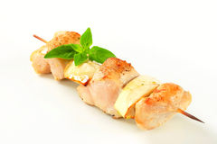 Brochette de poulet et d'aubergine Images libres de droits