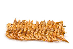 Brochette of dried shrimp Royalty Free Stock Photography