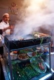 Brochette food stand in Marrakech Stock Photos