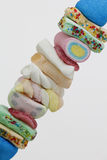 Brochette of sweet candies Stock Photo