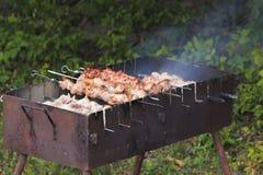 Brochettes avec de la viande sur le gril de barbecue Images stock