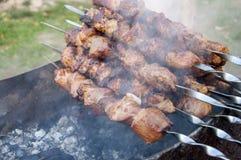 Brochettes avec de la viande sur le gril de barbecue Photo libre de droits