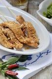 Brochettes d'épicé mariné par poulet Images libres de droits