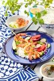 Brochettes de crevette rose Photographie stock libre de droits