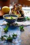Brochettes de haloumi de poulet Rassemblement de nourriture Photographie stock
