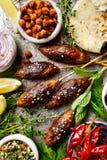Brochettes de Kofta, variété de meze, cuisine orientale photo stock