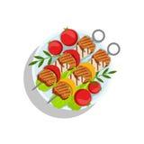 Brochettes de porc avec les champignons et le poivre, illustration de plat de nourriture de gril d'Oktoberfest Image stock