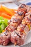 Brochettes de viande avec les raccords en caoutchouc et la salade Images libres de droits