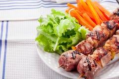 Brochettes de viande avec les raccords en caoutchouc et la salade Photos stock