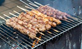 Brochettes de viande sur le gril Image libre de droits