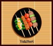 Brochettes de Yakitoris d'Asiatique réglées Images stock