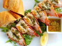 Brochettes grillées de crevette Image stock