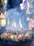 Brochettes grillées de la viande sur le gril, extérieur de pique-nique sur un ensoleillé photo stock