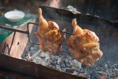 Brochettes grillées de poulet au-dessus de fourneau Images libres de droits