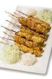 Brochettes grillées de poulet dans le style Yakator Photo libre de droits
