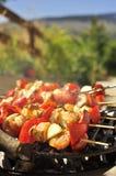 Brochettes grillées de viande sur le BBQ Images libres de droits