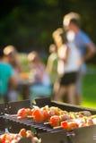 Brochettes grillant sur le barbecue Photographie stock libre de droits