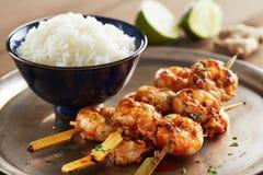 Brochettes marinées de polisson avec du riz Image libre de droits