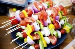 Brochettes végétariennes de BBQ Photos stock