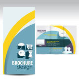 Brochure. Blue, flat Brochure design with icons Royalty Free Illustration