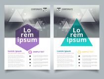 Brochure abstract blurred background with geometric triangles co. Mposition layout design template, Annual report, Leaflet, Advertising, poster, Magazine Stock Photo
