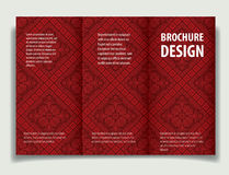 A4 brochure baroque red. Baroque background with antique, luxury black and red vintage frame, victorian banner, damask floral wallpaper ornaments, invitation Stock Illustration