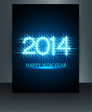 Brochure beautiful shiny stars template new year 2. 014 reflection blue colorful Stock Image