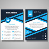 Brochure blue Flyer design Layout template.infographic  e Stock Photography