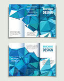 A4 brochure blue one. Vector abstract business broshure background with blue triangles, editable template stock illustration