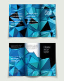 A4 brochure blue. Vector abstract business broshure background with blue triangles, editable template vector illustration