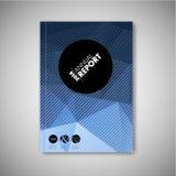 Brochure/boek/vliegerontwerpmalplaatje - blauwe veelhoeken Stock Afbeelding