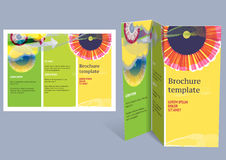 Brochure, booklet z-fold layout. Editable design t Royalty Free Stock Photo