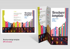 Brochure, booklet z-fold layout. Editable design t. Emplate. EPS10 vector, transparencies used Stock Photos