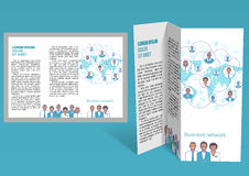 Brochure, booklet z-fold layout. Editable design template Stock Photos