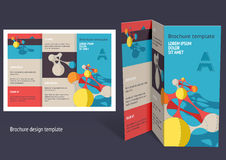 Brochure, booklet z-fold layout. Editable design template. EPS10 vector, transparencies used Royalty Free Stock Images