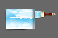 Brochure with a brush which draws the sky Royalty Free Stock Image
