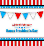 Brochure with Bunting Flags for Happy Presidents Day of USA Stock Photos