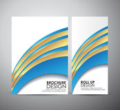 Brochure business design abstract blue line background template or roll up. Royalty Free Stock Photo