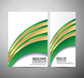 Brochure business design abstract green line background template or roll up. Stock Photography