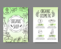 Brochure with cosmetic bottles. Organic cosmetics illustration. Doodle skin care items. Herbal hand drawn set. Spa elements in sketchy style. Bio cream. Women Royalty Free Stock Photo