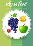 Brochure cover design with fruits icons Stock Images