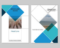 Brochure cover design. Vector brochure cover templates with blurred sea. EPS 10. Mesh background stock illustration
